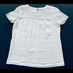 J Crew linen and lace eyelet top size 2 (small)